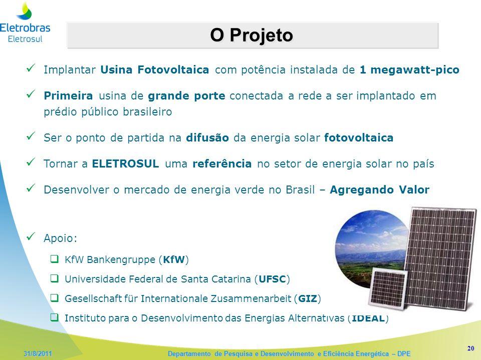 O Projeto Implantar Usina Fotovoltaica com potência instalada de 1 megawatt-pico.