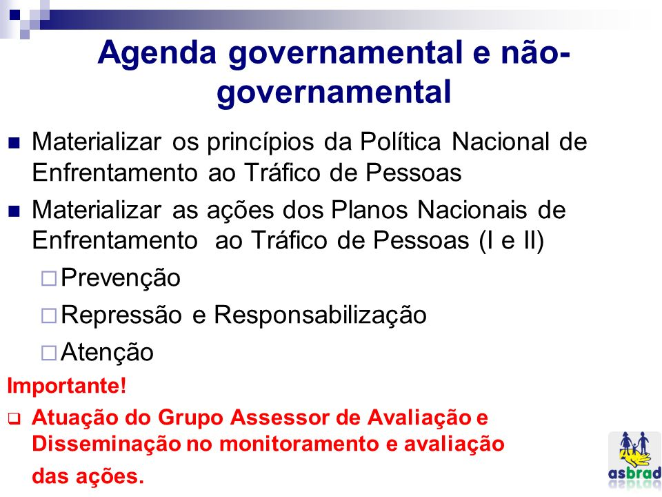 Agenda governamental e não-governamental