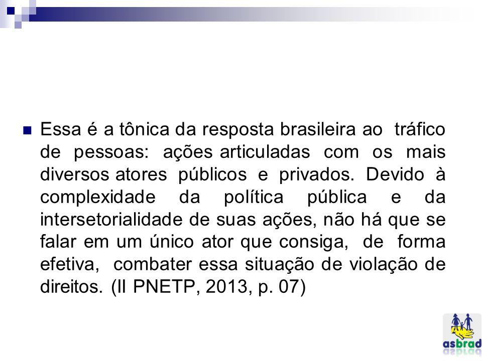 Essa é a tônica da resposta brasileira ao tráfico de pessoas: ações articuladas com os mais diversos atores públicos e privados.