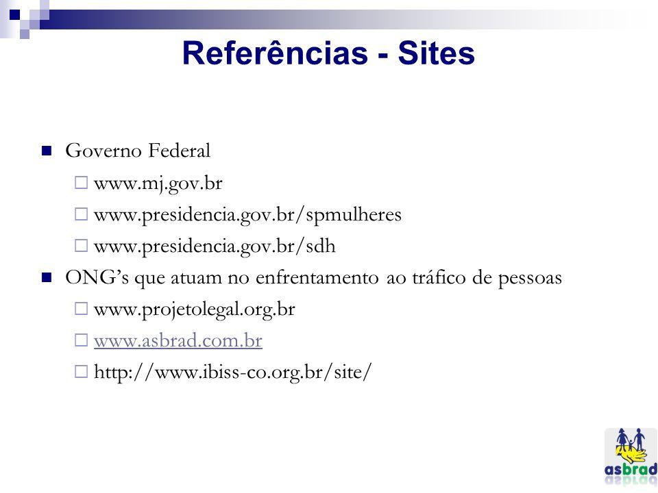 Referências - Sites Governo Federal www.mj.gov.br