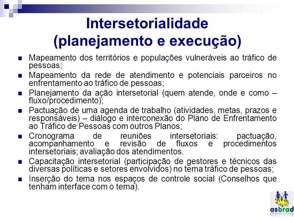 Intersetorialidade (planejamento e execução)