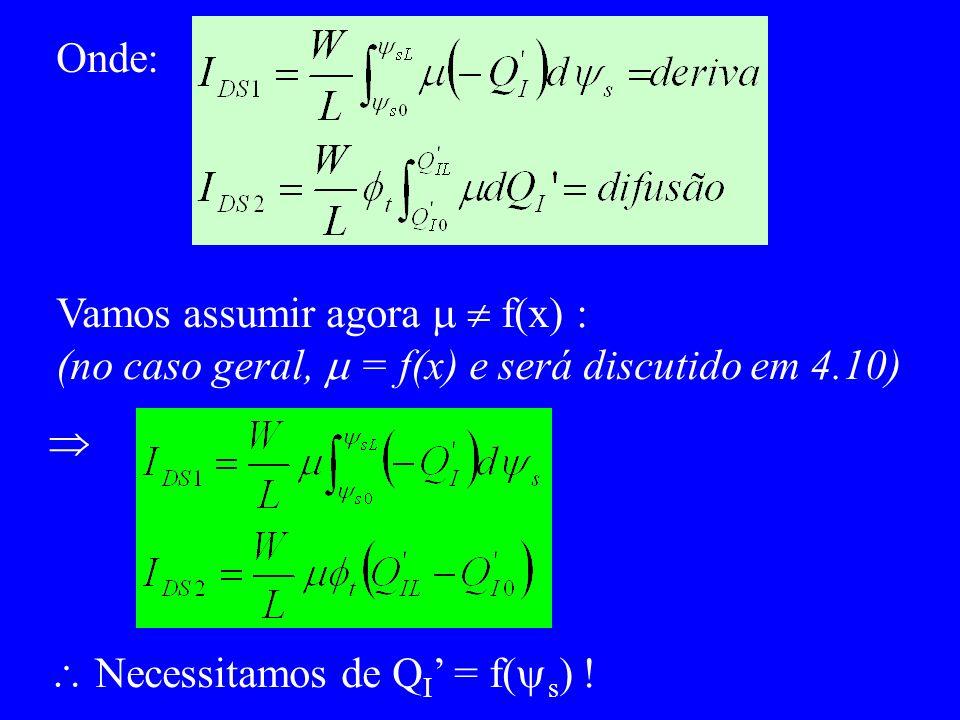 Onde: Vamos assumir agora   f(x) : (no caso geral,  = f(x) e será discutido em 4.10)   Necessitamos de QI' = f(s) !
