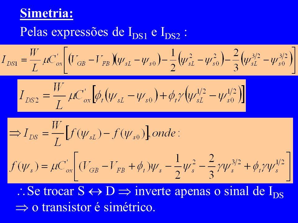 Simetria: Pelas expressões de IDS1 e IDS2 : Se trocar S  D  inverte apenas o sinal de IDS.