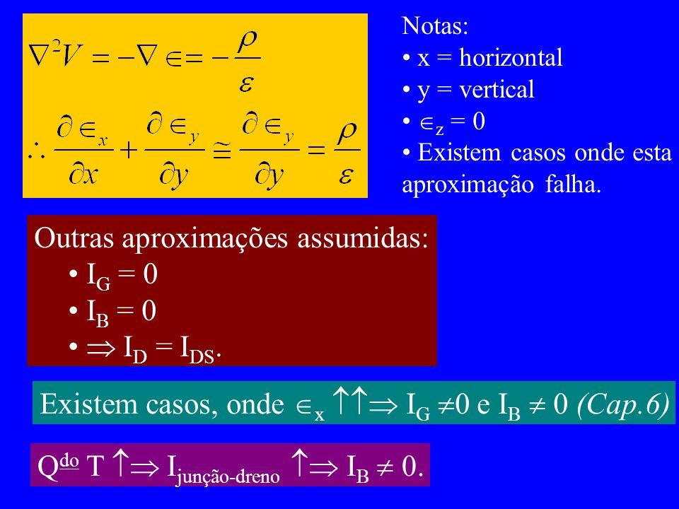 Outras aproximações assumidas: IG = 0 IB = 0  ID = IDS.