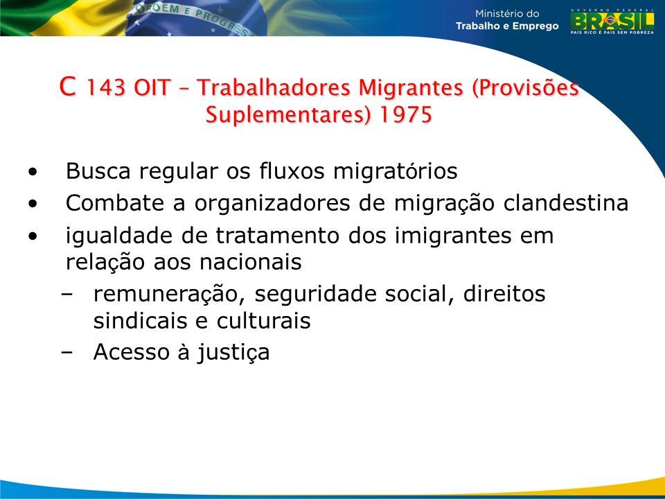 C 143 OIT – Trabalhadores Migrantes (Provisões Suplementares) 1975