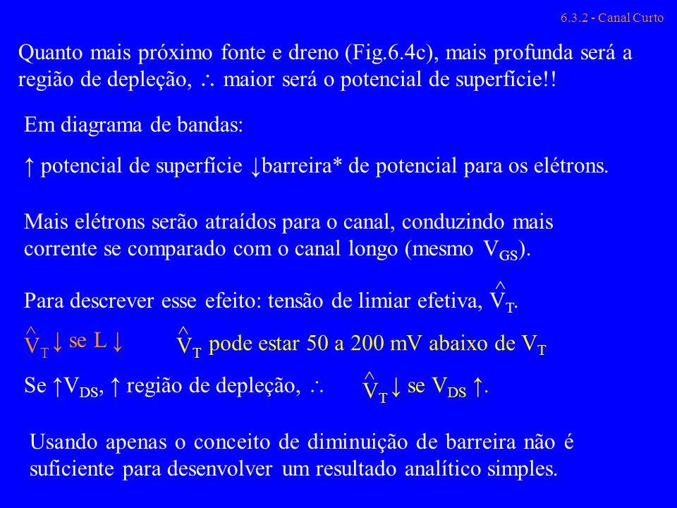 ↑ potencial de superfície ↓barreira* de potencial para os elétrons.