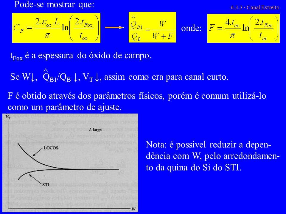 tFox é a espessura do óxido de campo.