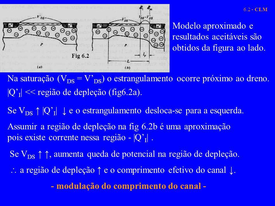 Na saturação (VDS = V'DS) o estrangulamento ocorre próximo ao dreno.