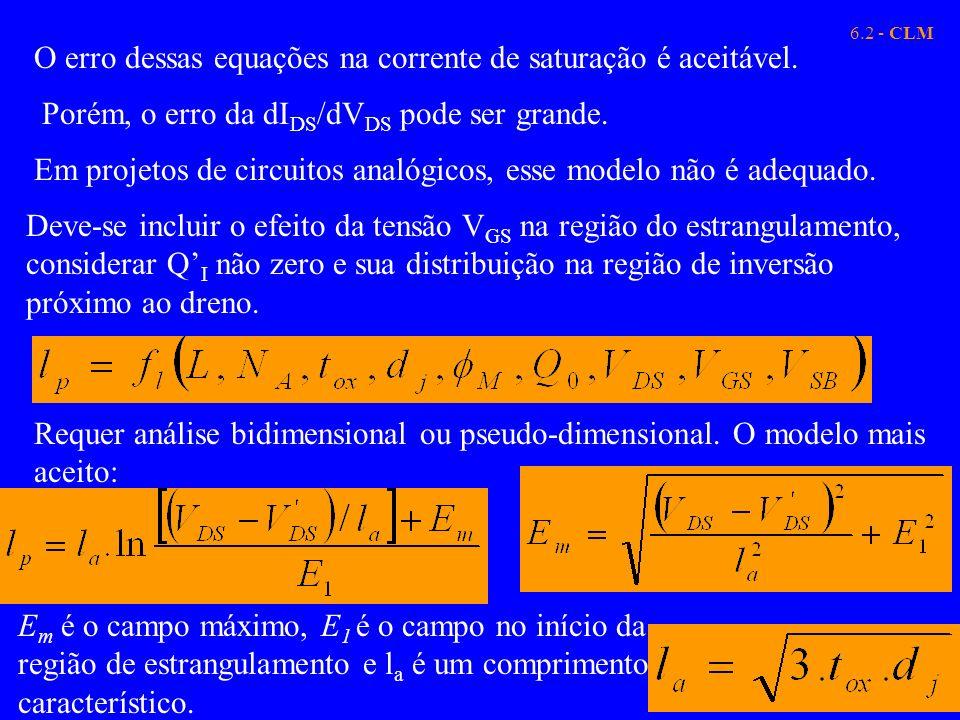 O erro dessas equações na corrente de saturação é aceitável.