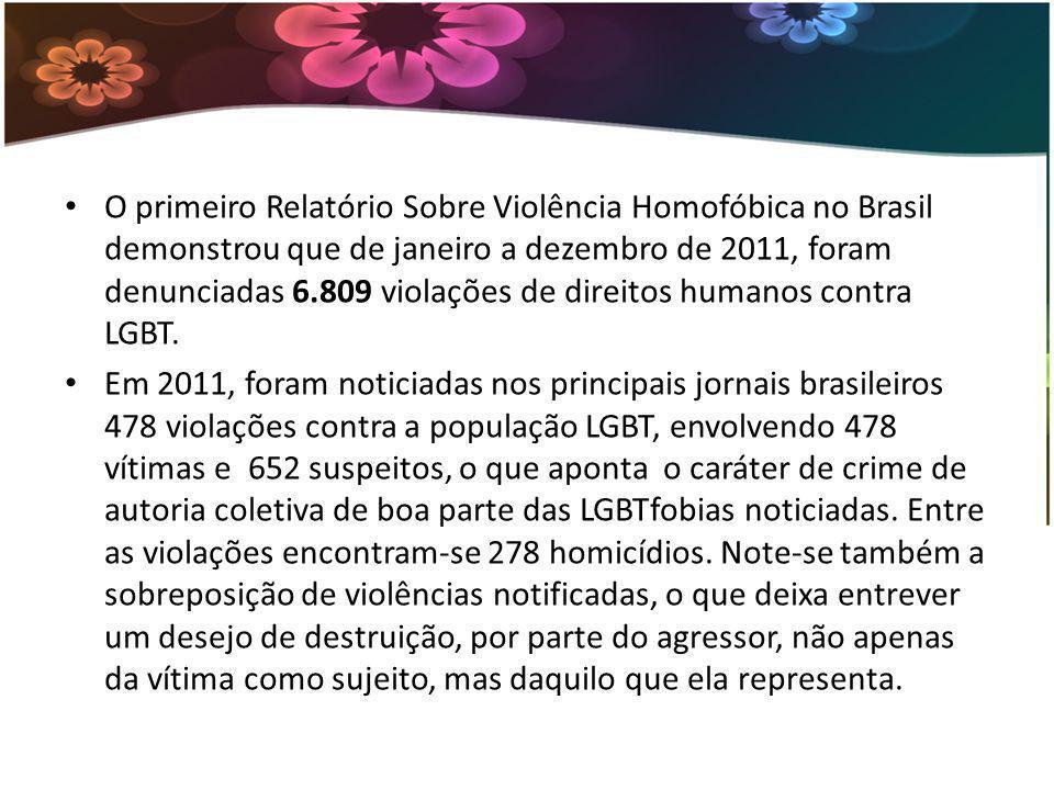 O primeiro Relatório Sobre Violência Homofóbica no Brasil demonstrou que de janeiro a dezembro de 2011, foram denunciadas 6.809 violações de direitos humanos contra LGBT.