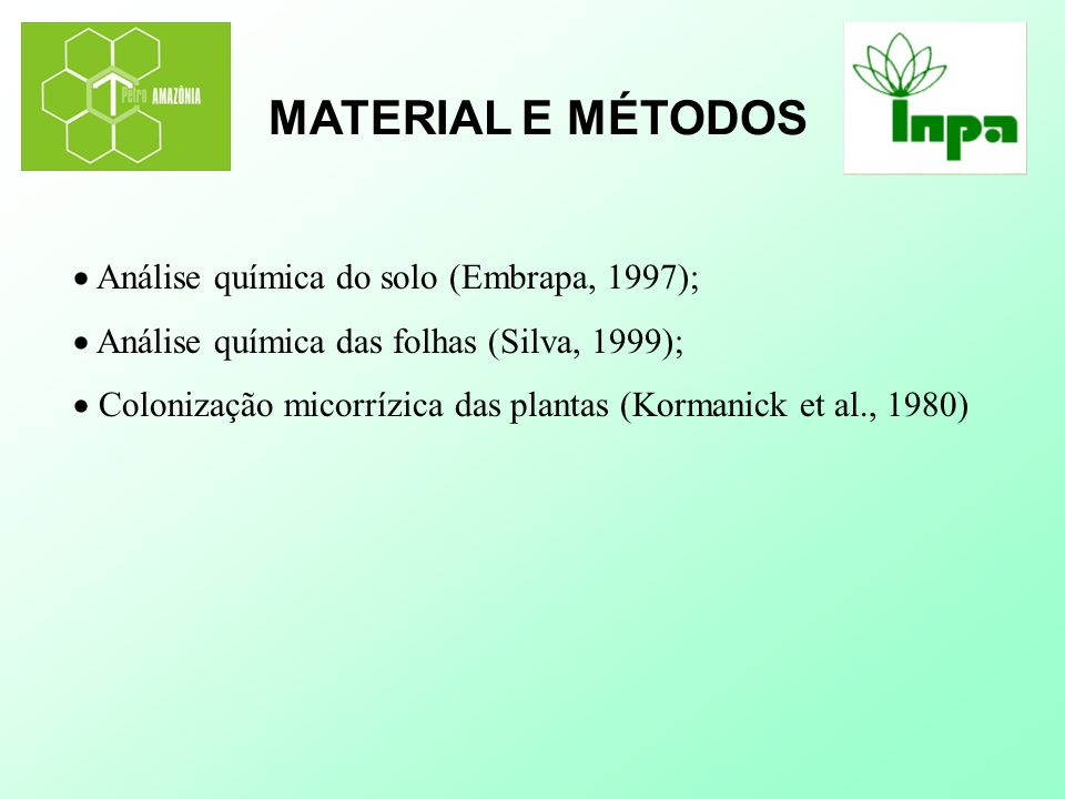 MATERIAL E MÉTODOS  Análise química do solo (Embrapa, 1997);
