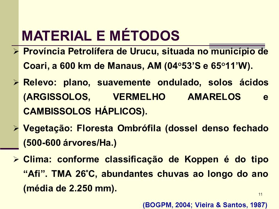 MATERIAL E MÉTODOS Província Petrolífera de Urucu, situada no município de Coari, a 600 km de Manaus, AM (04o53'S e 65o11'W).