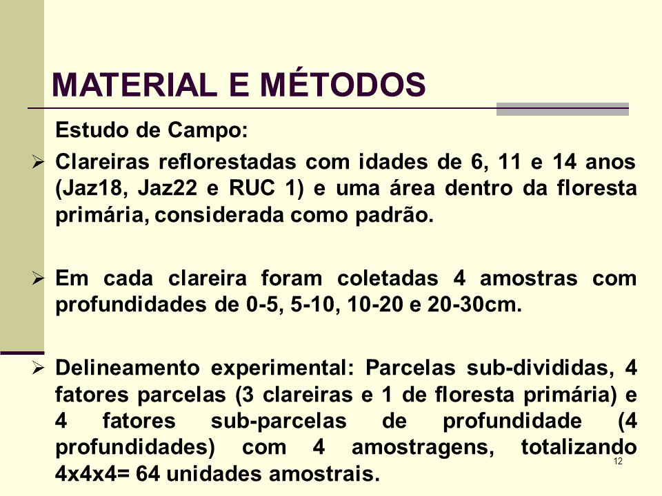MATERIAL E MÉTODOS Estudo de Campo: