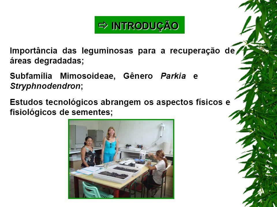  INTRODUÇÃO Importância das leguminosas para a recuperação de áreas degradadas; Subfamília Mimosoideae, Gênero Parkia e Stryphnodendron;