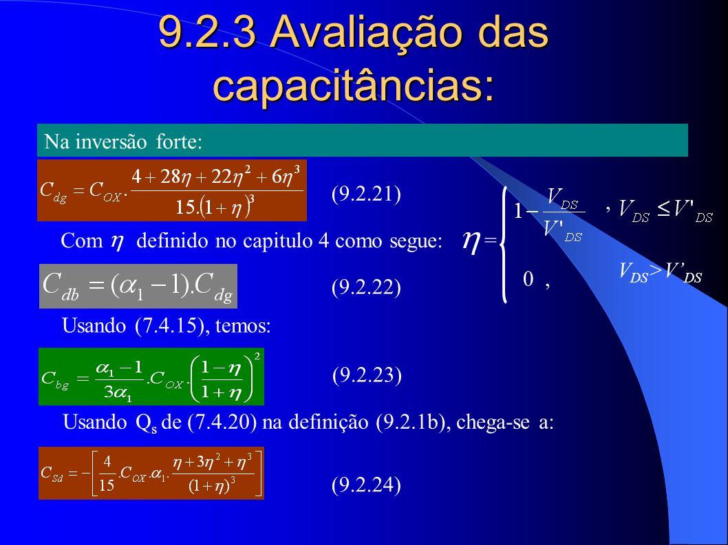 9.2.3 Avaliação das capacitâncias: