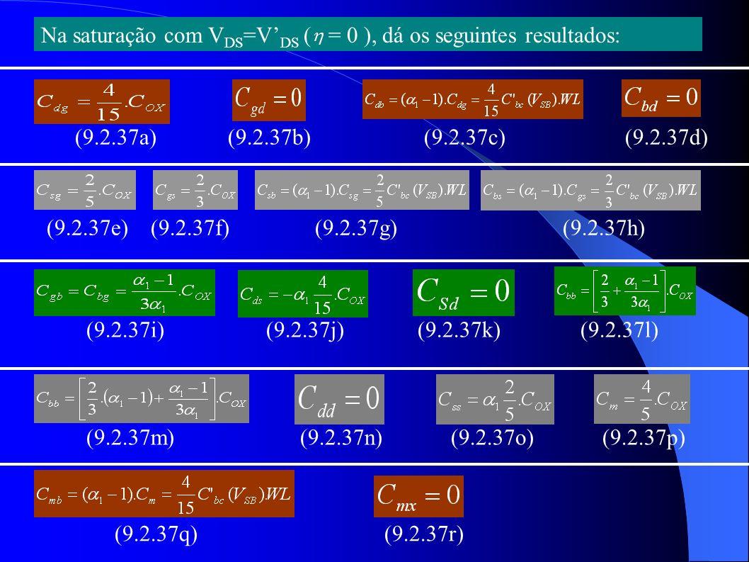 Na saturação com VDS=V'DS ( = 0 ), dá os seguintes resultados: