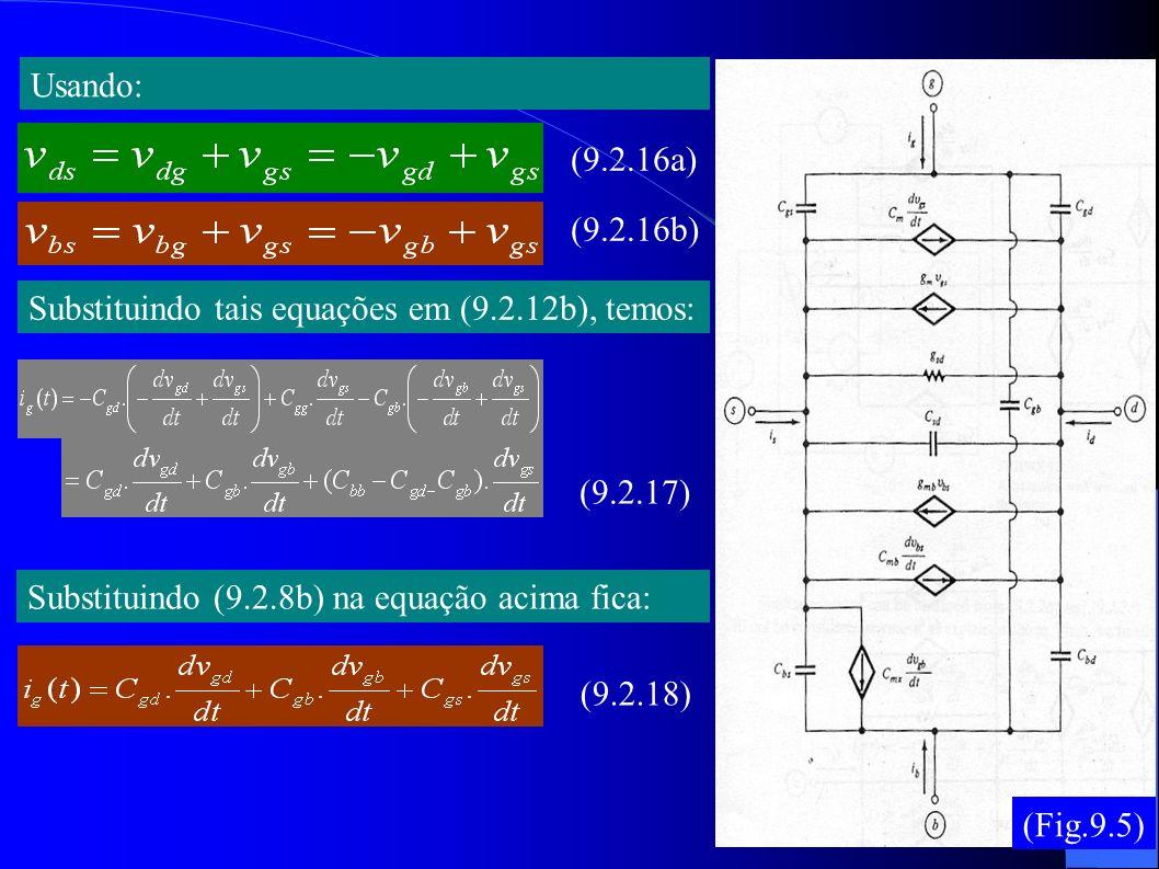 Usando: (9.2.16a) (9.2.16b) Substituindo tais equações em (9.2.12b), temos: (9.2.17) Substituindo (9.2.8b) na equação acima fica: