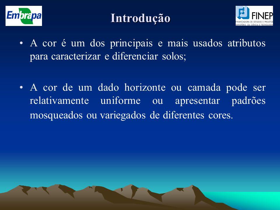 Introdução A cor é um dos principais e mais usados atributos para caracterizar e diferenciar solos;