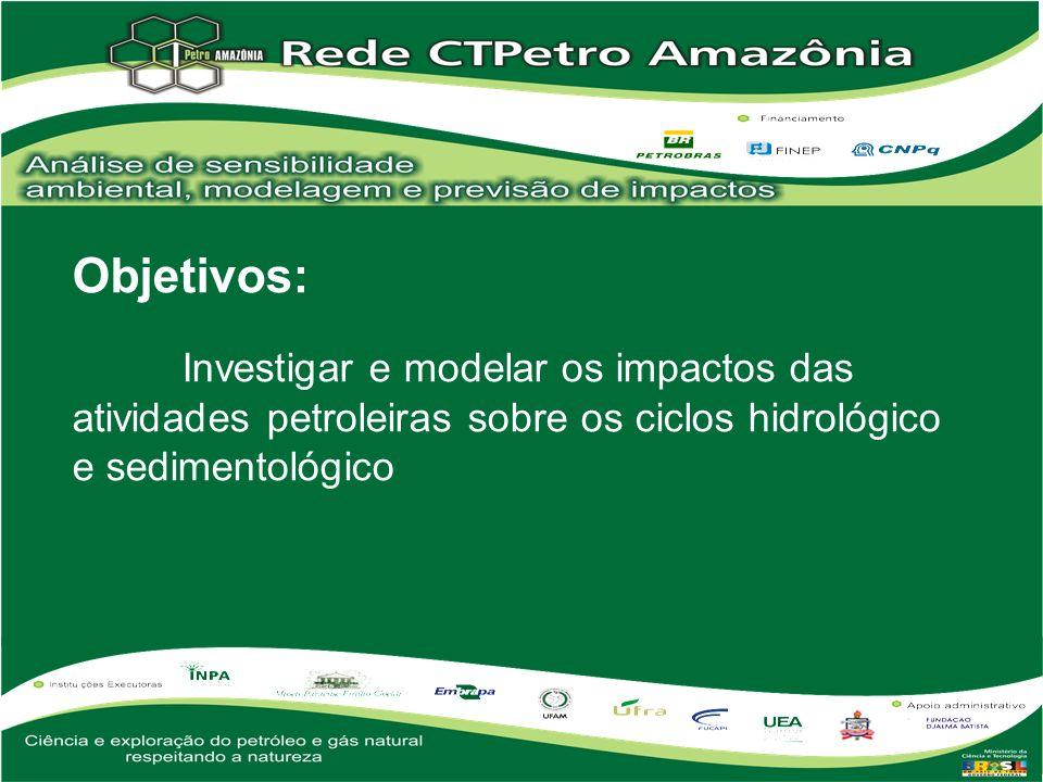 Objetivos: Investigar e modelar os impactos das atividades petroleiras sobre os ciclos hidrológico e sedimentológico.