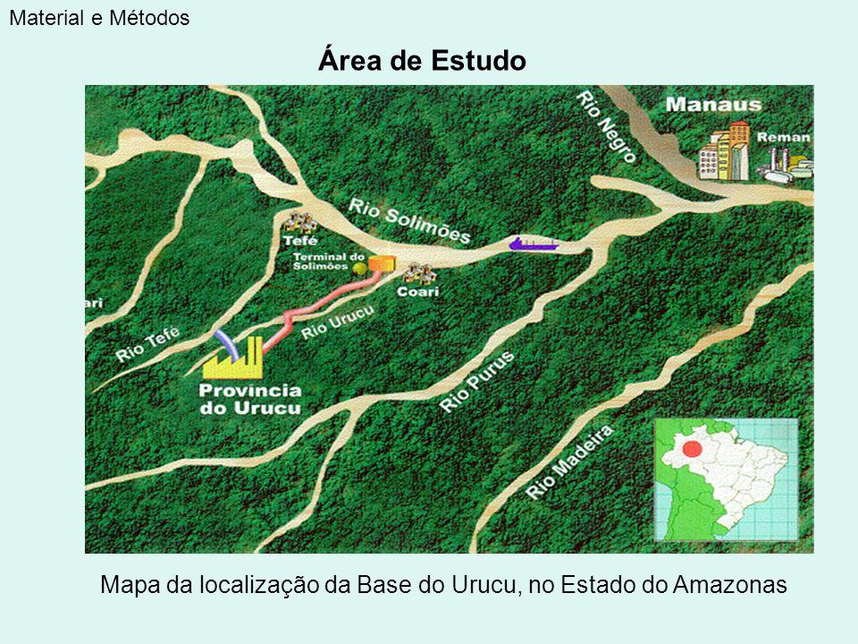 Material e Métodos Área de Estudo Mapa da localização da Base do Urucu, no Estado do Amazonas