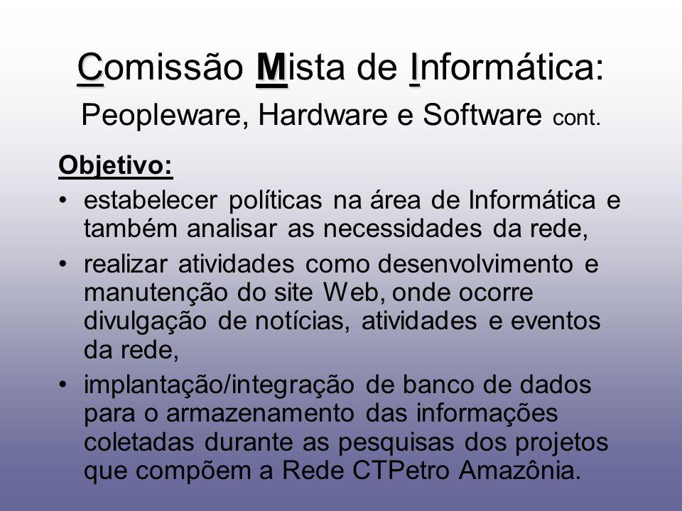 Comissão Mista de Informática: Peopleware, Hardware e Software cont.