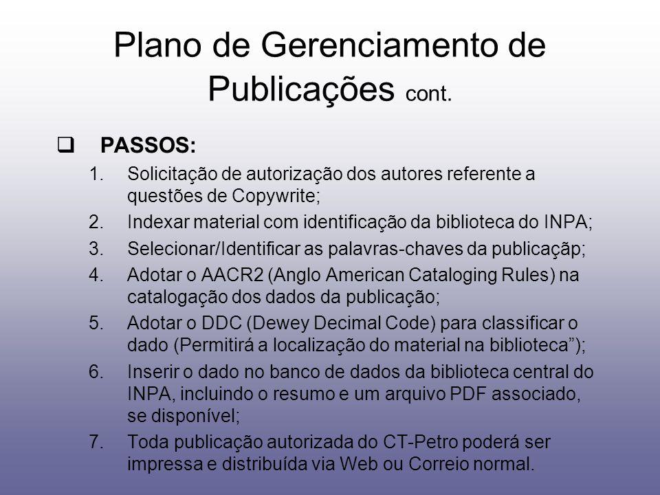 Plano de Gerenciamento de Publicações cont.
