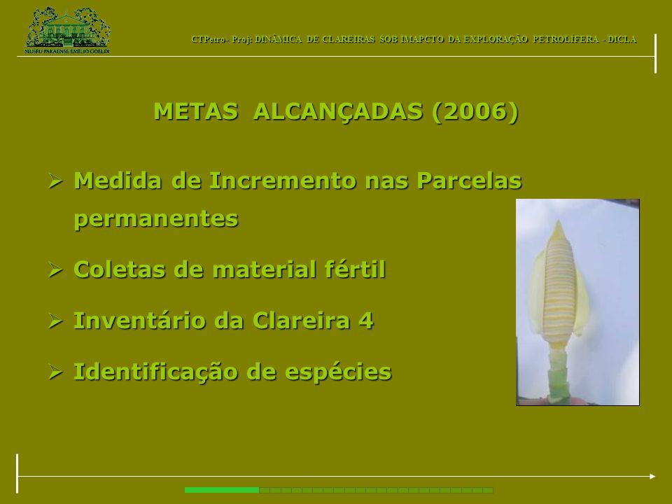 METAS ALCANÇADAS (2006) Medida de Incremento nas Parcelas permanentes. Coletas de material fértil.