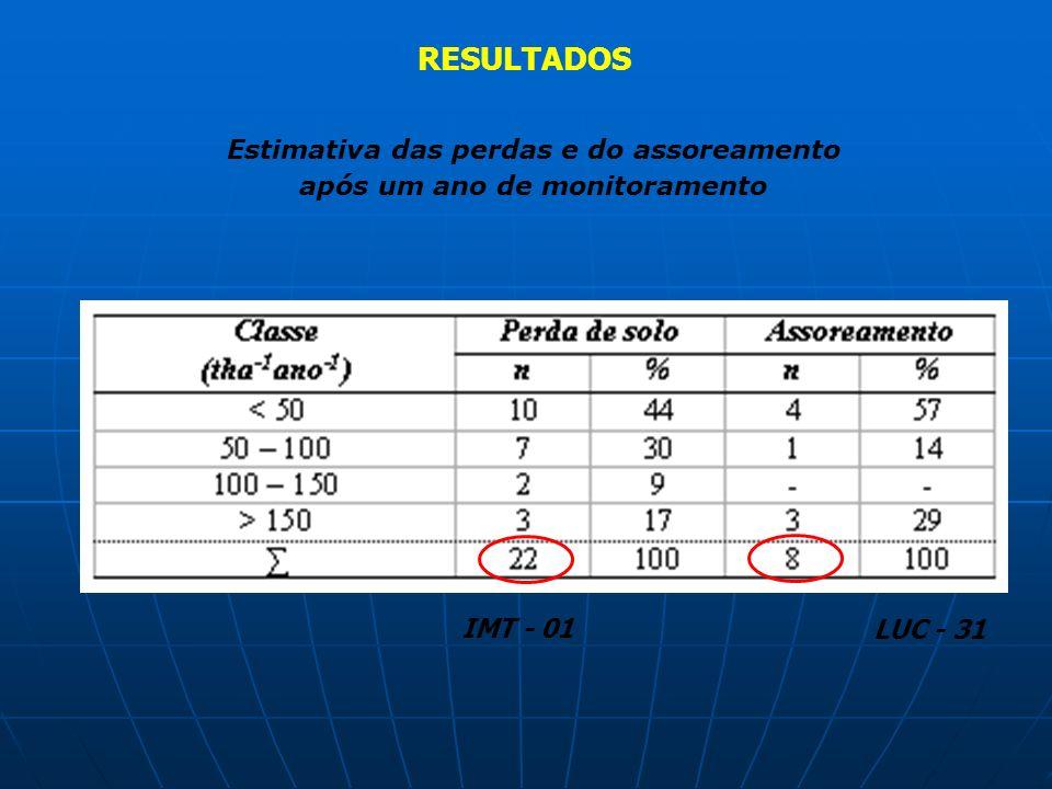 Estimativa das perdas e do assoreamento após um ano de monitoramento