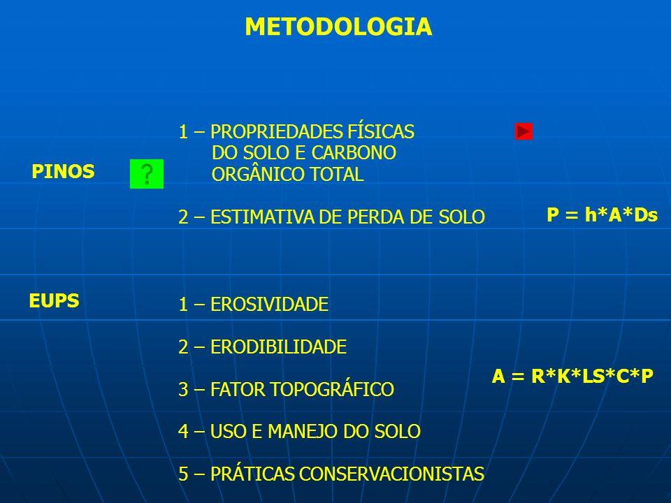 METODOLOGIA 1 – PROPRIEDADES FÍSICAS DO SOLO E CARBONO ORGÂNICO TOTAL