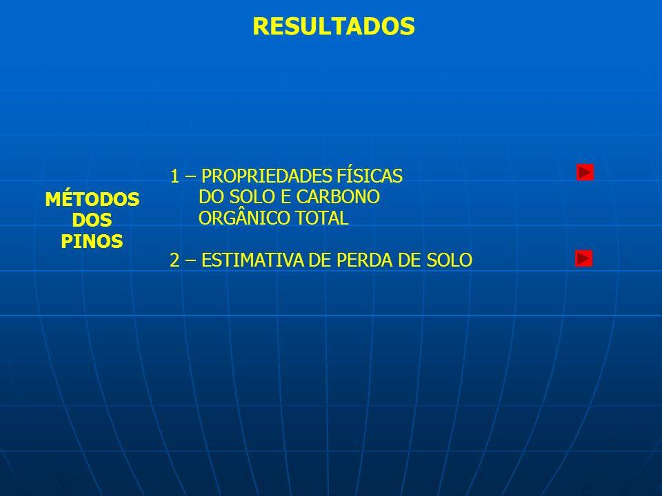 RESULTADOS 1 – PROPRIEDADES FÍSICAS DO SOLO E CARBONO ORGÂNICO TOTAL