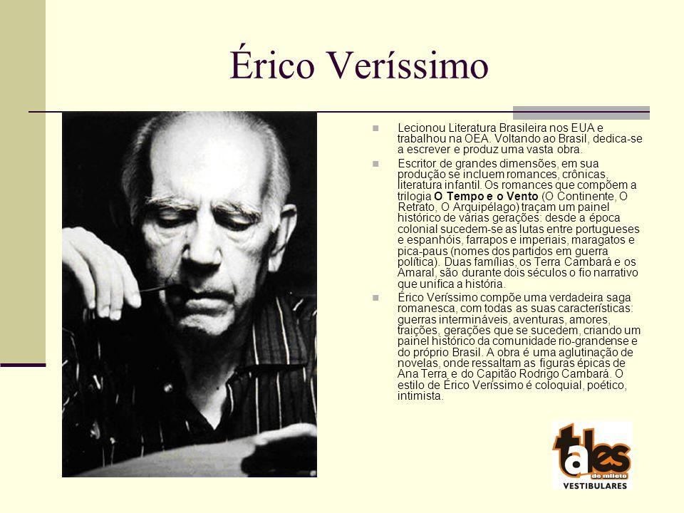 Érico Veríssimo Lecionou Literatura Brasileira nos EUA e trabalhou na OEA. Voltando ao Brasil, dedica-se a escrever e produz uma vasta obra.