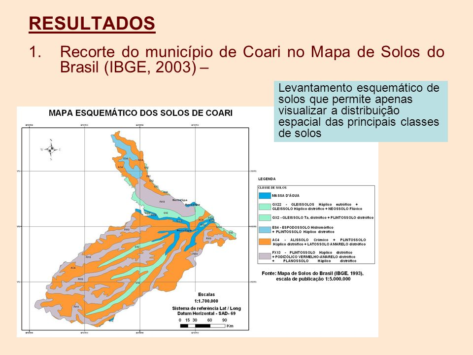RESULTADOS Recorte do município de Coari no Mapa de Solos do Brasil (IBGE, 2003) –