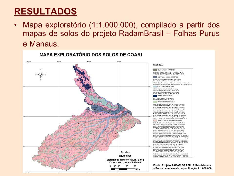 RESULTADOS Mapa exploratório (1:1.000.000), compilado a partir dos mapas de solos do projeto RadamBrasil – Folhas Purus e Manaus.