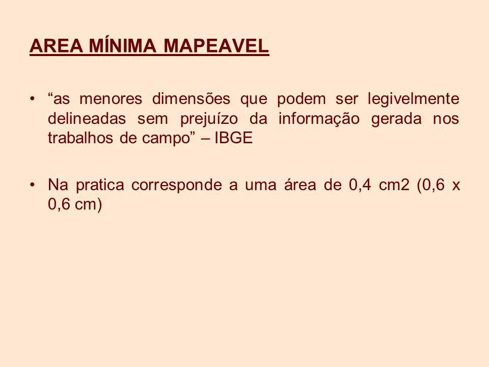 AREA MÍNIMA MAPEAVEL as menores dimensões que podem ser legivelmente delineadas sem prejuízo da informação gerada nos trabalhos de campo – IBGE.