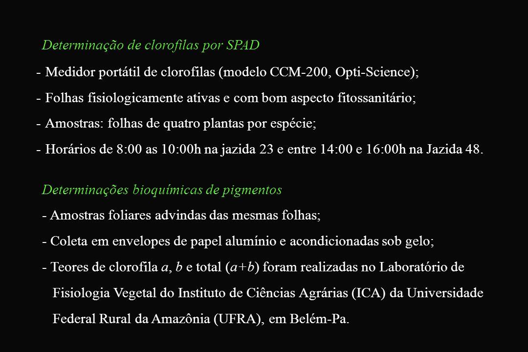 Determinação de clorofilas por SPAD