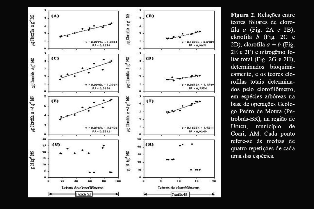 Figura 2. Relações entre teores foliares de cloro-fila a (Fig