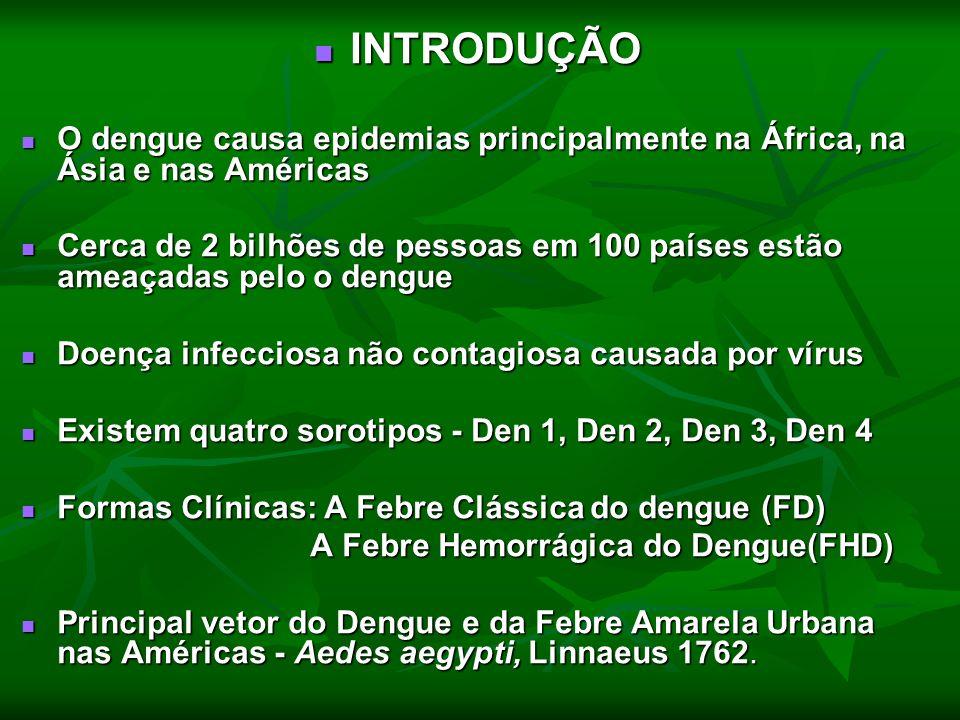INTRODUÇÃO O dengue causa epidemias principalmente na África, na Ásia e nas Américas.