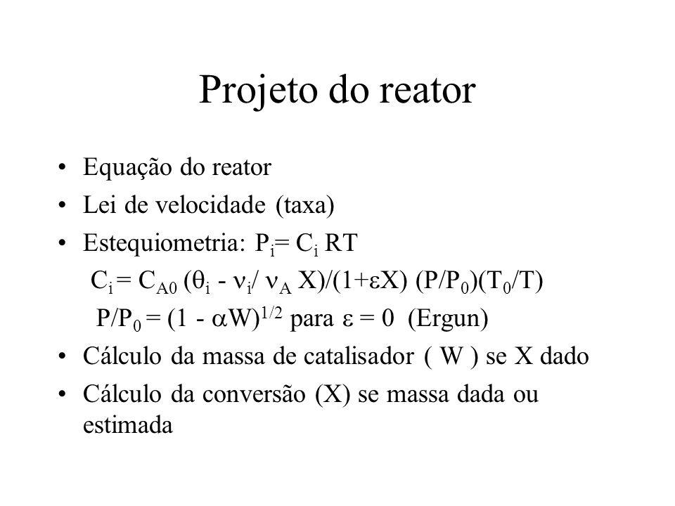 Projeto do reator Equação do reator Lei de velocidade (taxa)
