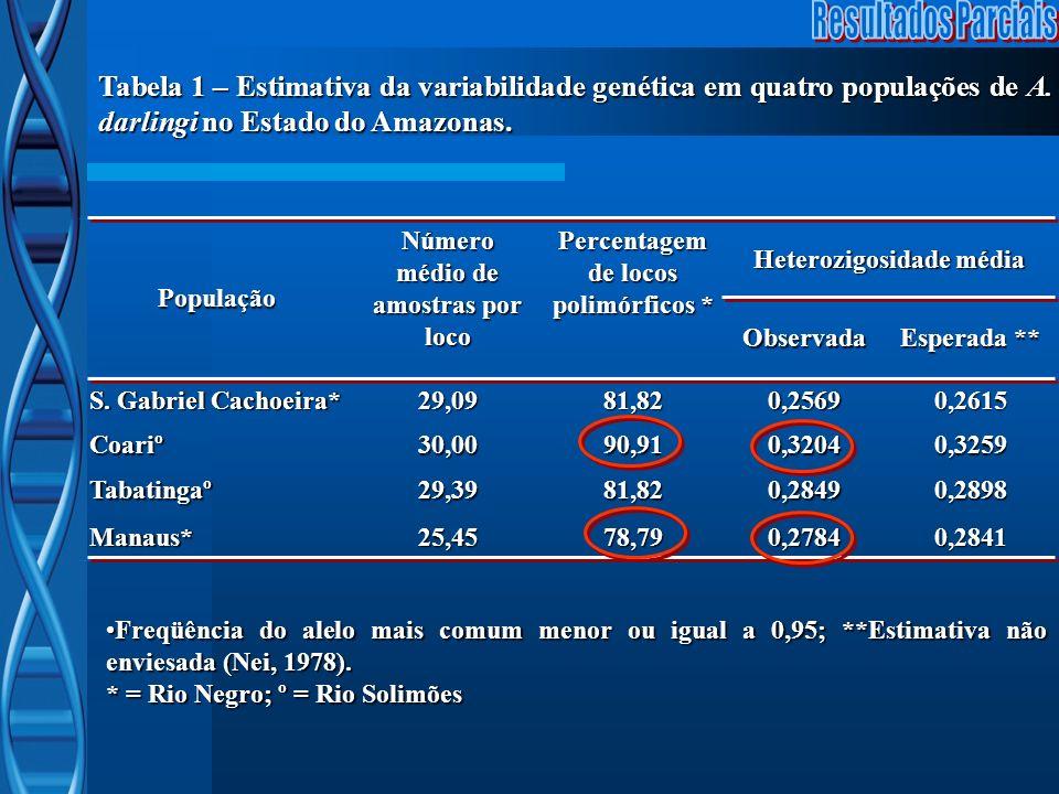 Número médio de amostras por loco Heterozigosidade média