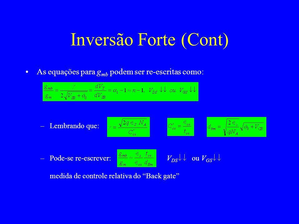 Inversão Forte (Cont) As equações para gmb podem ser re-escritas como: