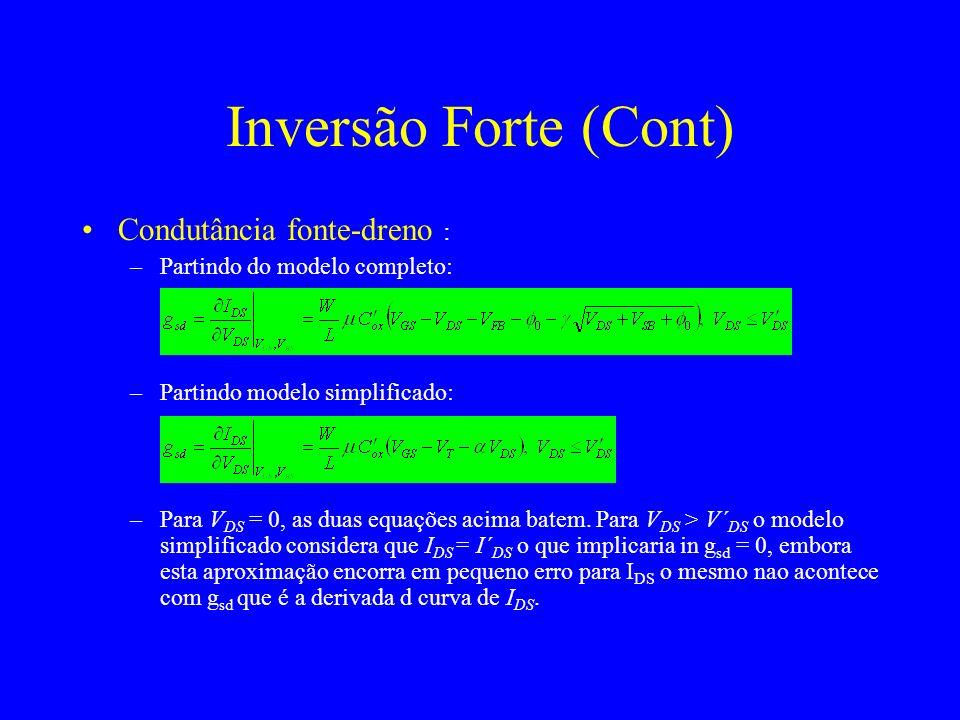 Inversão Forte (Cont) Condutância fonte-dreno :
