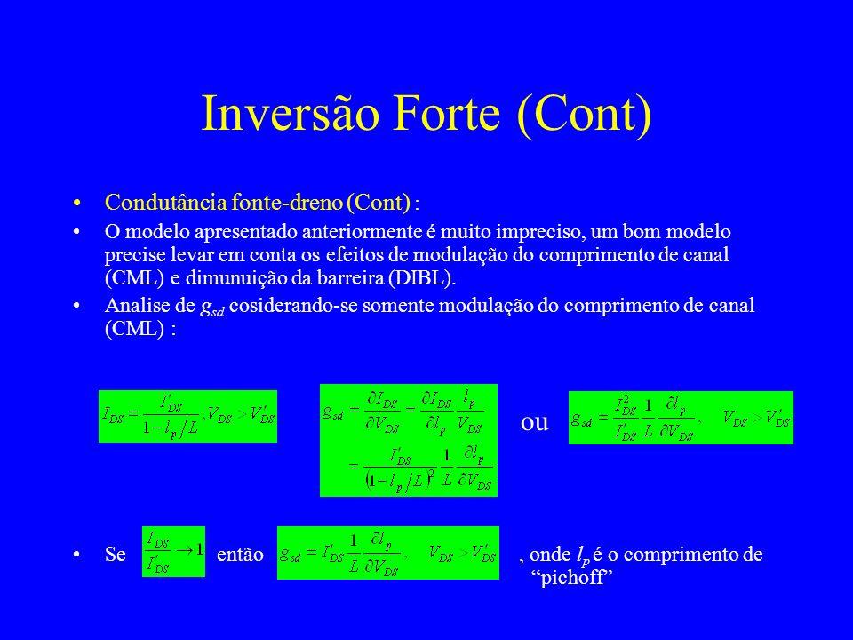 Inversão Forte (Cont) ou Condutância fonte-dreno (Cont) :