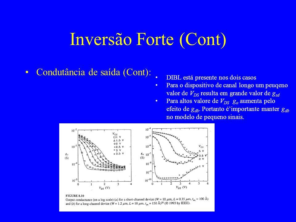 Inversão Forte (Cont) Condutância de saída (Cont):