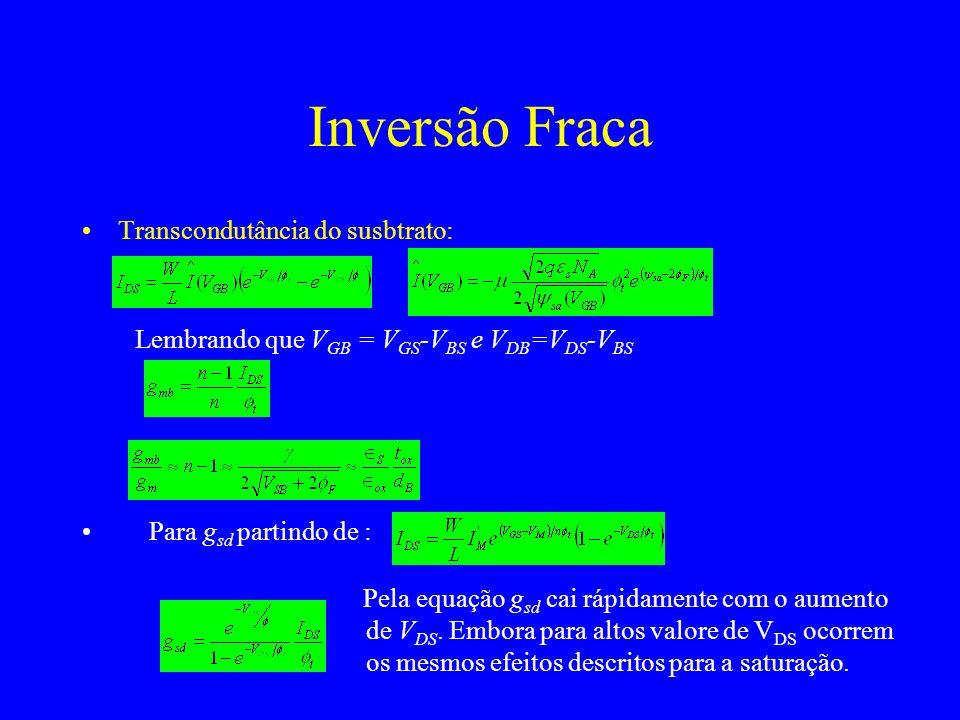 Inversão Fraca Transcondutância do susbtrato: