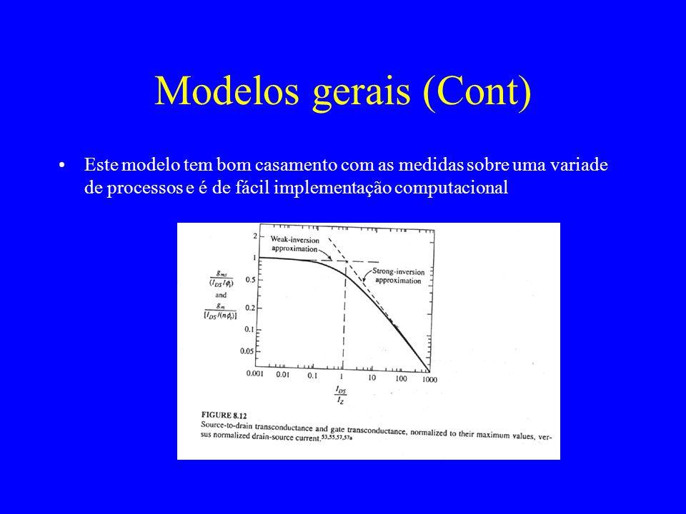 Modelos gerais (Cont) Este modelo tem bom casamento com as medidas sobre uma variade de processos e é de fácil implementação computacional.