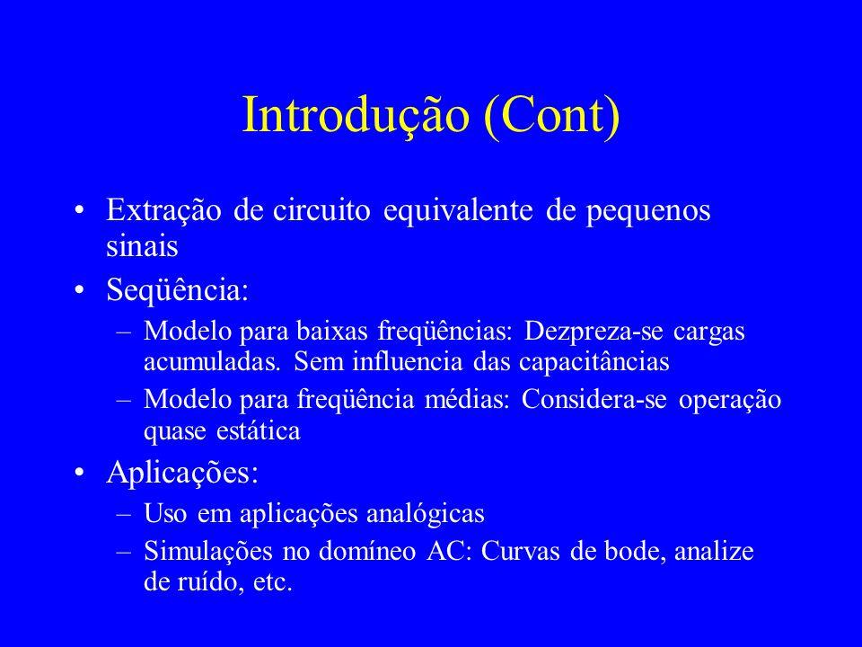Introdução (Cont) Extração de circuito equivalente de pequenos sinais