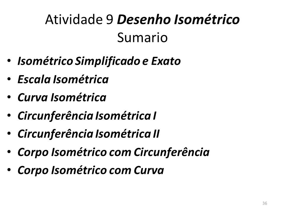 Atividade 9 Desenho Isométrico Sumario