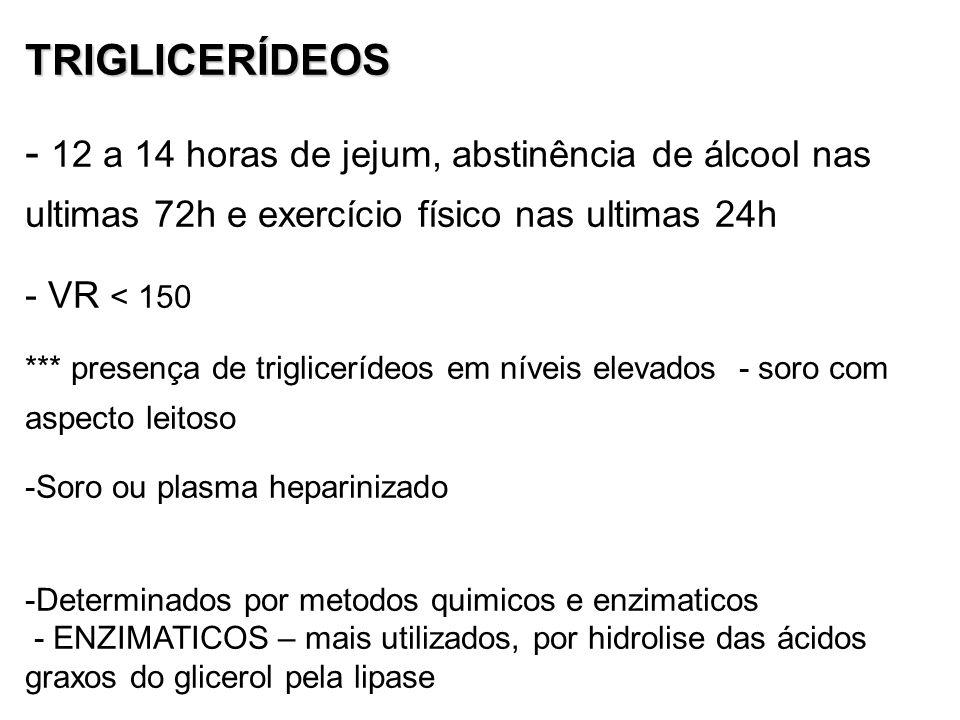 TRIGLICERÍDEOS 12 a 14 horas de jejum, abstinência de álcool nas ultimas 72h e exercício físico nas ultimas 24h.