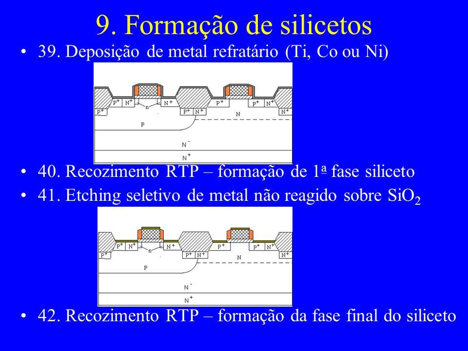 9. Formação de silicetos 39. Deposição de metal refratário (Ti, Co ou Ni) 40. Recozimento RTP – formação de 1a fase siliceto.