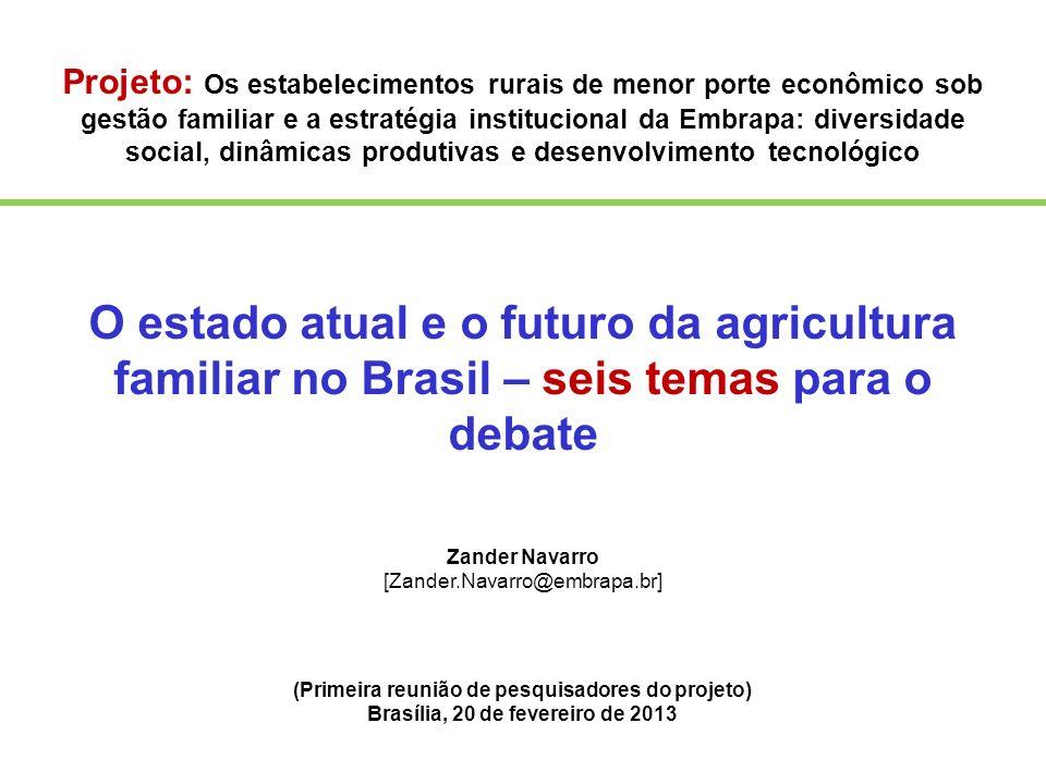 Projeto: Os estabelecimentos rurais de menor porte econômico sob gestão familiar e a estratégia institucional da Embrapa: diversidade social, dinâmicas produtivas e desenvolvimento tecnológico